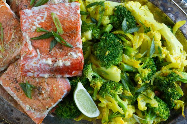Salmon and Creamy Turmeric Veggies #keto #antiinflammtory #fatfuel #lowcarb #dairyfree