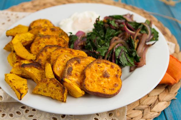 Sauteed Beet Greens and Chili Sweet Potato Rounds