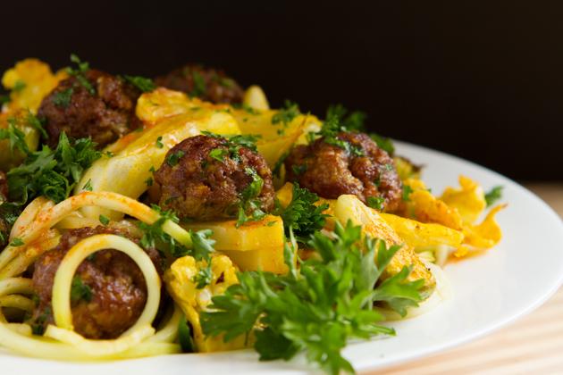 "Sriracha Spaghetti"" + Meatballs #keto #paleo #grainfree #lowcarb"