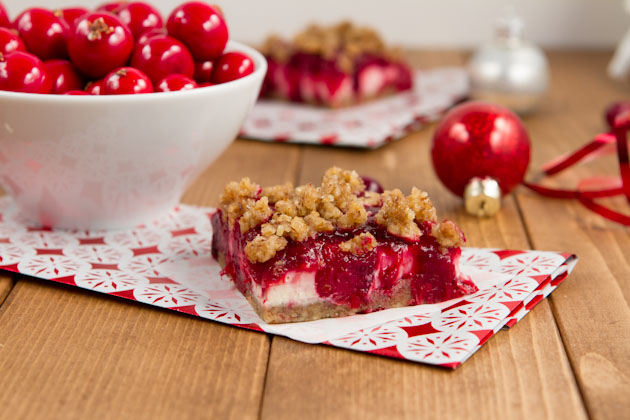 Vegan Cranberry Cheesecake Squares