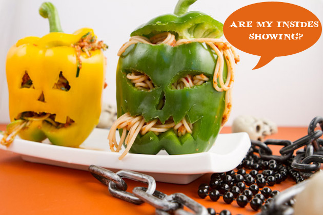 Pasta-stuffed Jack-o-lanterns