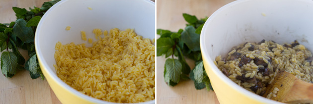 Portabello Orzo with Lemon Mint Cream Sauce